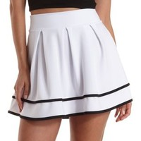 Black/White Piped & Pleated Skater Skirt by Charlotte Russe