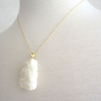 White Coral Necklace, Coral Gold Necklace, 14kt Gold-Filled Necklace, Druzy Jewelry OOAK, 18 inch gold necklace