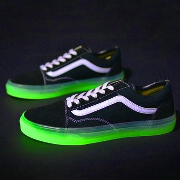 VANS Luminous Soles Shoes Women Men Leisure Flat Sneakers Shark Shoes B-CSXY Black