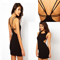 Fashion Black Grid Slim Dress
