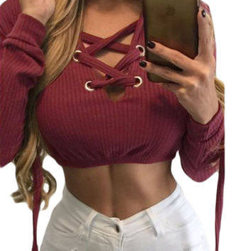Wine Red Ribbed Knit Thick Lace Up Crop Top