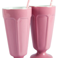 Carousel Set of 2 Milkshake Glasses with Straws - Pale Pink