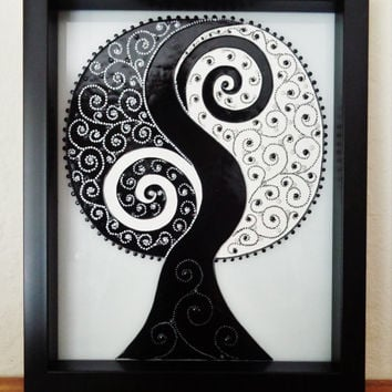 "Yin Yang Tree art 9""x11""  Black and white tree Glass painting"