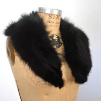 Black Fox Fur Collar / genuine