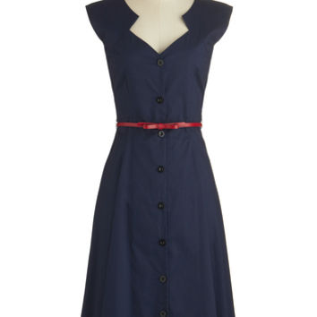 ModCloth Vintage Inspired Long Cap Sleeves A-line Knack for Numbers Dress in Navy