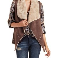 Taupe Double Zero Faux Fur Lined Vest by Charlotte Russe