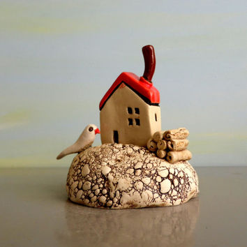 Little house , ceramic white house , miniature island with a beach house and ceramic bird