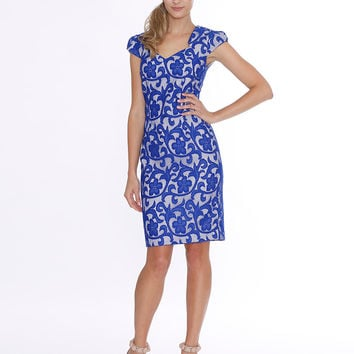Pink Ruby Australian Designer Blue Lace Florence Pencil Dress