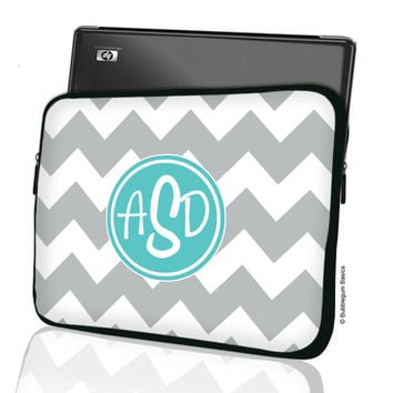 "Custom LAPTOP MACBOOK Sleeve Gray Chevron Teal Monogram 11"" 12"" 13"" 14"" 15"" - Personalized Monogram - Design Printed on Front AND Back"