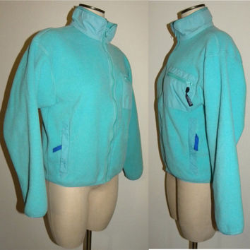 "Vintage Patagonia Fleece Zip jacket adult woman size 10 M 43"" chest sweater jacket Aqua Blue small medium made USA"