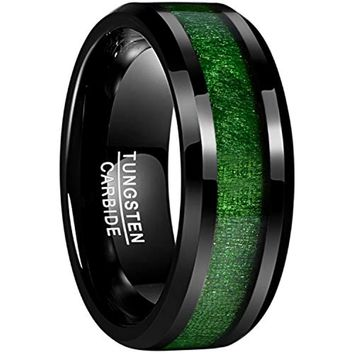 CERTIFIED 8mm Black Tungsten Carbide Green Maple Wood Inlay Wedding Band