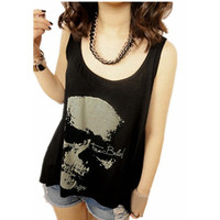 Hot Sale Summer New Fashion Sexy Gothic Skull Backless Tank Vest Punk Rock Singlet Tassel Blouse Plus Size S-3XL