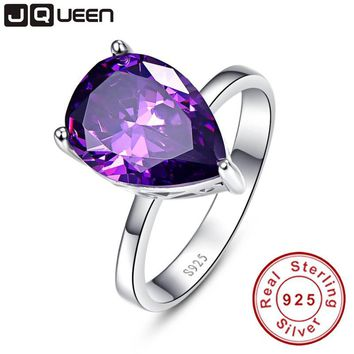 Elegant Waterdrop Amethyst Pearl Cut 925 Sterling Silver Promise Wedding Ring 8.8 Carats Love Engagement Rings for Women