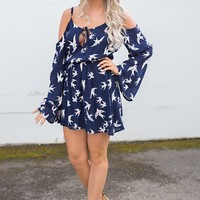 Greatest Love Off The Shoulder Bell Sleeve Cinched Waist Printed Dress (Navy)