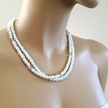 Crystal Pearl Bridal Necklace Double Strands Wedding Jewelry Bridesmaids Gift Necklace Set of 3..5