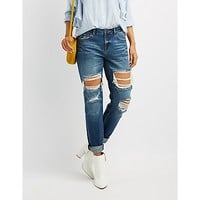 Refuge Destroyed Boyfriend Crop Jeans | Charlotte Russe