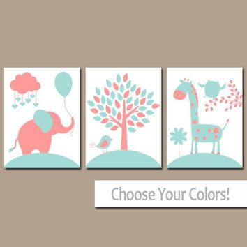 CORAL AQUA Nursery Wall Art, CANVAS or Prints, Baby Girl Nursery Decor, Elephant Giraffe Tree, Jungle Safari Animals, Set of 3 Crib Decor