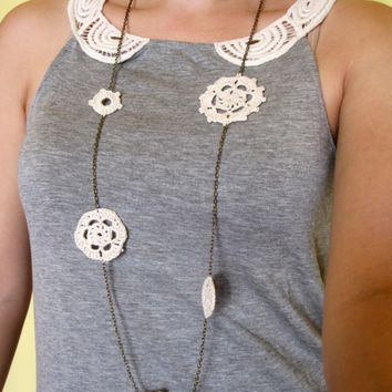 Crocheted White Snowflake Lace long necklace