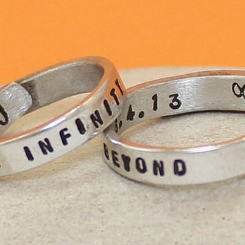 Personalized - To Infinity and Beyond Rings- Couple rings. Adjustable. Custom rings. Couple Rings Set.. Hand Stamped, Aluminum Rings.. LOVE