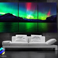 """LARGE 30""""x 60"""" 3 Panels Art Canvas Print Beautiful Aurora skyline Nature Wall Home (Included framed 1.5"""" depth)"""