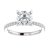 *Clearance* Cubic Zirconia Engagement Ring- The Geraldine Lea (1.50 Carat Cushion Cut with Delicate Pavé Band in 18K White Gold)