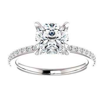 Cubic Zirconia Engagement Ring-*Clearance* The Geraldine Lea (1.50 Carat Cushion Cut with Delicate Pavé Band in 18K White Gold)