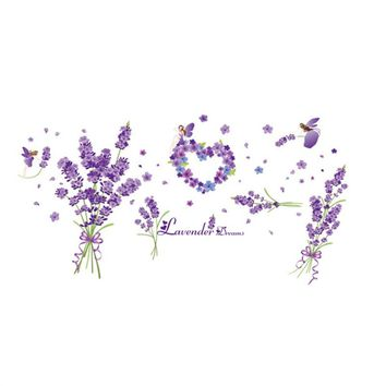 Lavender Wall Sticker Removable Art Murals Wall Decals for Bedroom Living Room Bathroom Decoration