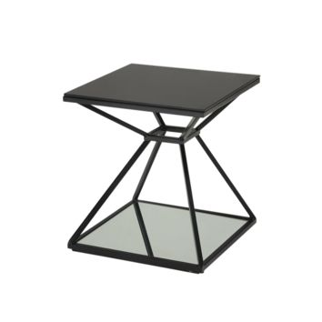WEG BLACK PAINTED STEEL FRAME WITH BLACK TEMPERED GLASS TOP AND MIRRORED GLASS BOTTOM END TABLE