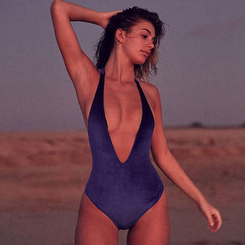 Out From Under Plunging V Velvet One-Piece Swimsuit | Urban Outfitters