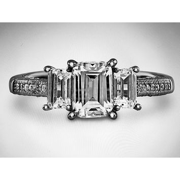 1CT Emerald Cut Solitaire Russian Lab Diamond Engagement Ring