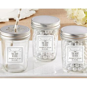Personalized Glass Mason Jar - The Hunt Is Over (Set of 12)