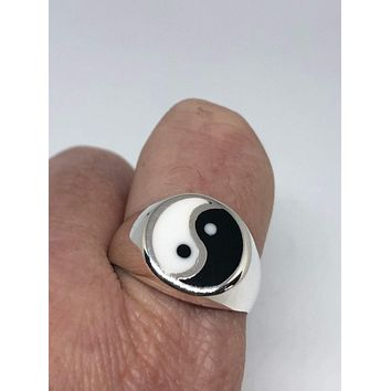 Vintage Gothic Black and White Enamel Yin Yang Sterling Silver Mens Ring