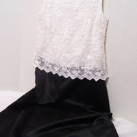 SALE REDUCED Special Occasion Long Formal Dress White Lace And Black Satin Size 12-14 Wedding Mother Of Bride Bridesmaid