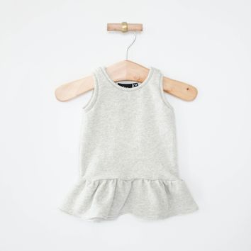 Peplum Dress in Heather Gray