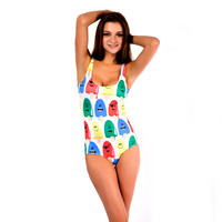 White Ice Cream Print One Piece Swimsuit