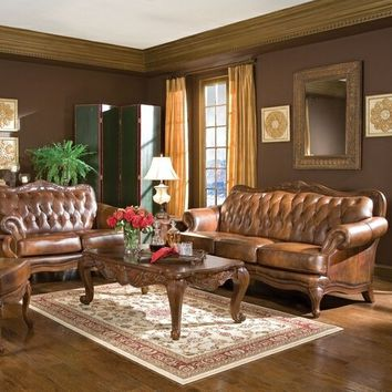 Coaster 500681-82 2 pc victoria collection 100% tri-tone warm brown leather upholstered sofa and love seat set with nail head trim