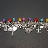 Disney Beauty and the beast inspired tibetan silver charm bracelet