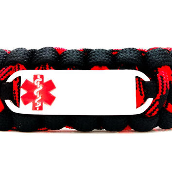 550 Paracord Bracelet with Small Rectangle Engraved Stainless Steel Medical Alert ID Tag - Red