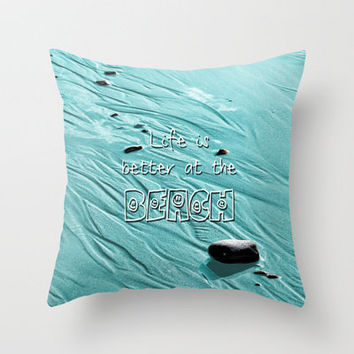 Beach Life Throw Pillow by Alice Gosling | Society6