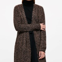 Jacquard mohair and wool cardigan - Brown Melange - Knitwear - COS US