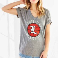 Louisville Basketball V-Neck Tee- Grey