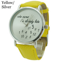 Who Cares Im Already Late Separated Numbers 40mm Women Watch