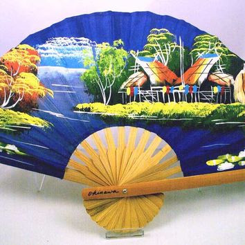 Gorgeous 1940s Vintage SILK Hand Painted Japanese Fan-Signed Okinawa