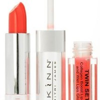 Skinn Cosmetics Twin Set Collagen Boost Lipstick and Wet Lips Gloss (Coral Poppy)