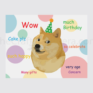 Doge Printable Birthday Card