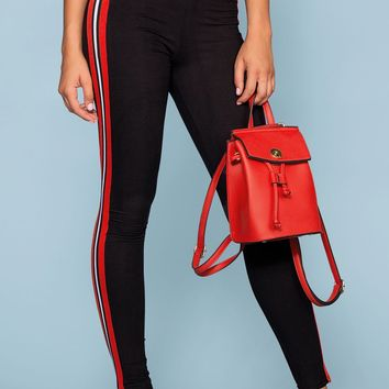 Outta Line Racer Stripe Black High Waist Leggings