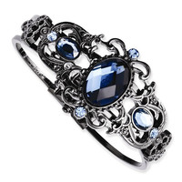 1928 Black-Plated Blue Acrylic & Glass Hinged Bracelet