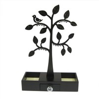 Metal Bird Tree Atop Wood Jewelry Box with Drawer Earrings & Rings Organizer Deep Brown
