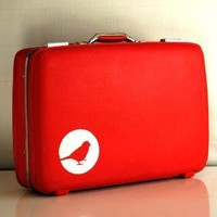Vintage Upcycled Red Suitcase Hard sided American by bluebernice