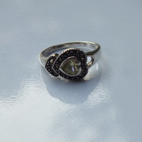Sideways Heart  Silver Ring With Clear / Greenish Stone, Size 8, Silver 925